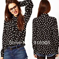 White polka dot black print tencel cotton female shirt ol popper dot long-sleeve shirt women blouses free shipping