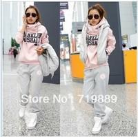 Top Quality Women Autumn Winter hoodies suit , Warm leisure sports Hoodie (hoody,panty,vest) 3pcs sets