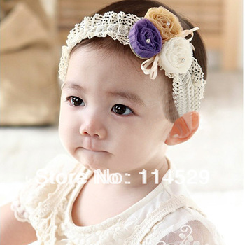 12pcs/lot Beautiful Hairband Baby Girls flowers headbands Mesh Knitting Baby Hair Accessories U Pick Color 14547