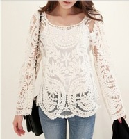 NEW Womens Semi Sexy Sheer Long Sleeve Embroidery t shirt Floral Lace Crochet Tee T-Shirt Top shirt Blouse Plus Size 2014 spring