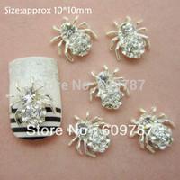 Free shipping 50pcs/bag Rhinestone Spider Metal Nail Decoration Halloween Nail Art Decorations