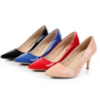 2013 autumn candy color fashion pointed toe shoes red navy blue stiletto women's genuine leather shoes 3s204