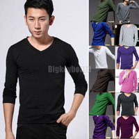 Stylish Mens Casual Long Sleeve Cotton Slim Fit V-neck Top T-Shirts M-XXL  Free Shipping