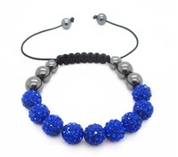Min. order is $9 (can mix style)Fashion shamballa bracelet for women 9 pieces bright blue crystal ball bracelets