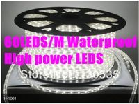 5M 3528 60LED/M 300LED White Color Waterproof AC110-220V Flexible LED light strip SMD 3528  led strip Free shipping