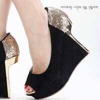 2013 spring shoes diamond paillette velvet high-heeled shoes wedges platform open toe shoe women's single shoes