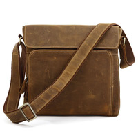 Fashion male fashion leather bag crazy horse leather casual messenger bag vintage genuine leather man bag student bag