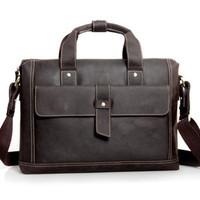 Male cowhide messenger bag casual fashion handbag commercial fashion vintage briefcase