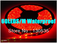 Free shipping 5M 5050 60LED/M 300LED red Color Waterproof DC12V Flexible LED light strip SMD 5050 led strip