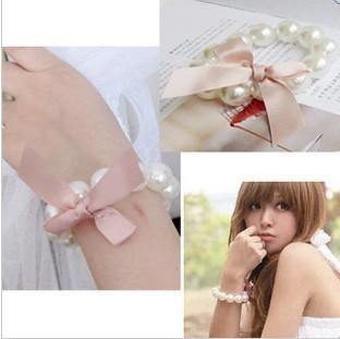 Free ship Trendy hotable Pink silk bowknot pearl female bracelet for nice  girl