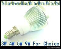 High Power LED lamp 3W 4W 5W 9W E14 Globe lamp 220V 110V Cool White silver body LB4