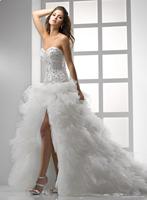 Top Seller Sweetheart Beadings Corset Back Tulle High-slit Sweetheart Ball Gown Wedding Dress