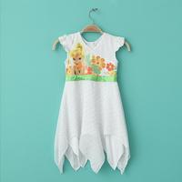 High quality 2013 new summer children's cartoon princess pattern dress girls V-neck irregular hem princess dress  free shipping