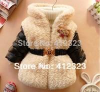 baby children girls winter fashion coat jacket with fleece boys kids warm parka jackets with belt outwear