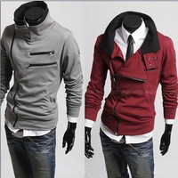 Free shipping South Korean Men's Hoodies Jacket Sweatshirt Zippered Light grey/Black/Purple/Clared-red Dropshipping