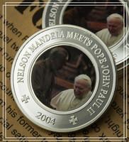 Nelson Mandela&Pope John Paul II Somali coin,Free Shipping 20pcs/lot Republic 25 Shillings 1oz silver transfer printing Coin