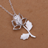 N293 Free shipping wholesale 925 silver flower necklace, 925 silver fashion jewelry high quality  party  Necklace for women