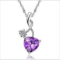 [Minimum Order 15$,Support mixed order]  Purple lover big zircon pendnat necklace,platinum plated keep colour. GPN029