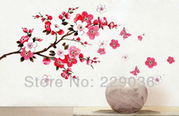 1PCS Pink Flowers Butterfly Removable Wall Sticker Decal Art DIY Home Decor Wall Art Vinyl Free Shipping