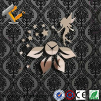 Cartoon Style Cute Angel and Star Conbination Wall Stickers Novelty Mirror Acrylic Clocks for Children
