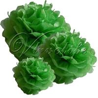 "Free shipping 10pcs 25cm 10"" Dark Green Tissue Paper Pom Poms Wedding Birthday Party Home Decor Craft Favors"