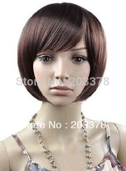 Capless Short Bob High Quality Synthetic Dark Brown Straight Hair Wig Free Shipping