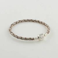 Light Grey Leather Starter Bracelet with 100% 925 Sterling Silver Clasp Clip, Compatible With Pandora Bracelet DIY Making PL003