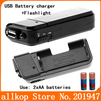 Mini USB Emergency Battery Charger use 2xAA Batteries + Flashlight for MP4 Cellphone iPhone iPod Free shipping