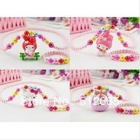 {Min.order $15}  6sets/Lot 2013 New Princess/Girl/Kids/Children Plastic Colorful Beads Kitty Necklace with Bracelet