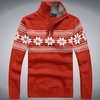 Korean autumn new classic Half zipper jacquard  sweater for men fashion cashmere sweater