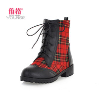 Free shipping 2013 western boots ankle boots fashion vintage patchwork plaid thick heel cutout martin boots female