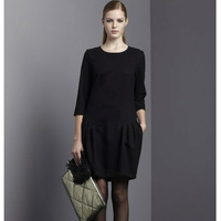 Fashion autumn 2013 elegant one-piece  three quarter sleeve plus size clothing mm involucres one-piece  long-sleeve  15p