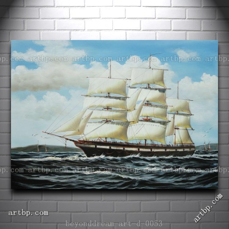 Sailing Ship Cartoon Racing Home Fully Rigged Big Sailing Ship Oil Painting Classic Boat Ship