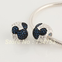 Blue Mickey Mouse Rhinestone Crystal 925 Sterling Silver Beads DIY Jewelry, Compatible With Pandora Bracelet XS136D