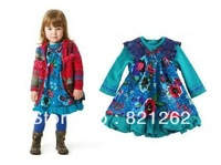 2013 new arrival france brand autumn girls fashion long sleeve dress printed flowers blue princess 2T-8T high quality