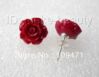 stunning AAA big 13mm red coral flower earrings silver stud