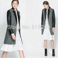 2012 New Fashion Women's PU leather Sleeve Windcoat Winter Coat Overcoat
