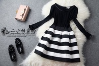 Lovable Secret - 2013 autumn fashion black and white horizontal stripe slim elastic waist long-sleeve dress slim free shipping