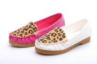 Ultra soft shoes work shoes leopard print color block decoration flat heel cow muscle outsole white nurse shoes