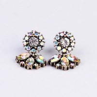 Free Shipping 2013 New Arrival lady  jewelry fan earrings MOQ 12 prs