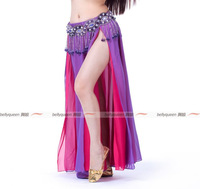 2013 NEW Performance Belly Dance Chiffon Material Skirt,2-Layer Color 2-Side Split Skirt,High Split Skirt,13Colors Available