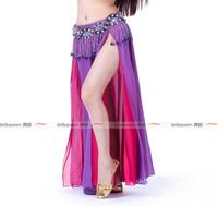 2013 NEW Performance Belly Dance Chiffon Material Skirt,2-Layer Color 2-Side Split Skirt,High Split Skirt,13Colors Available
