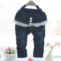 Free Shipping (4 pieces/lot) 2013 New Arrival Baby Girl Lace Denim Trousers For Autumn/Fashion Casual Jeans For Children Brand