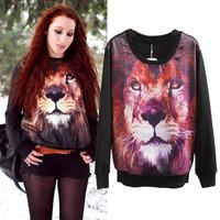 Hot Sale New Streetwear Lion head 3D Pattern Silk Contrast Cotton Long Sleeve Jumper Pullovers Hoodies Sweatshirt Top