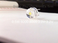 8mm straw hat LED lamp bead are white light 0.5W  F8MM power 0.5W hat light-emitting diode 3.0-3.2 6000-8000K