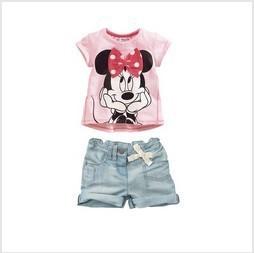Free Shipping (5sets/lot)  2013 Summer Suits For Girls (Short Sleeve T-shirt+Shorts) Minnie Cartoon Girl's Set ,Kid's Set Summer