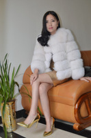 women real fox fur coat