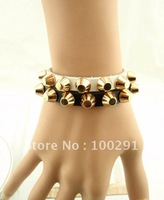 Free shipping!! 15pc/lot 100%genuine cow leather with Gold color rivet mixed color leather bracelet