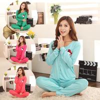 free shipping 2013 cotton autumn woman sleepwear long-sleeve cartoon cat three pieces knitted cotton pajama sets women