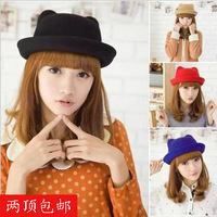 Autumn and winter woolen hat cat ears hat female fashion vintage roll-up hem dome small fedoras Free shipping
